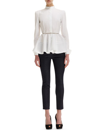 Sale alerts for Alexander McQueen  Pleated-Peplum Mandarin-Collar Blouse, Twisted Metal Belt & Side Contrast-Stripe Cropped Jeans  - Covvet