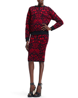 Alexander McQueen Tulip Jacquard Knit Sweater & High-Waist Skirt