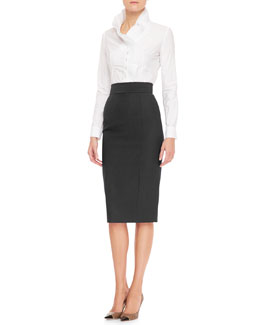 L'Wren Scott Pleated Ruffle-Collar Blouse & Back Slit Midi Pencil Skirt