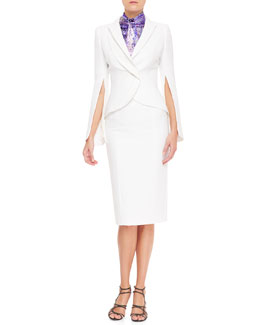 L'Wren Scott Double-Breasted Zip-Sleeve Blazer, Tie-Front Floral Sleeveless Blouse & High-Waist Back-Slit Pencil Skirt
