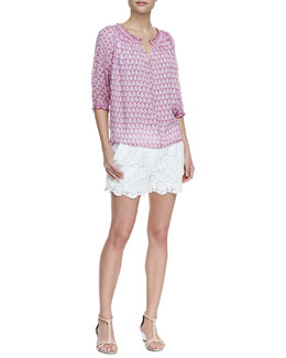 Diane von Furstenberg Bryn Printed Chiffon Peasant Blouse & Naples Hippolyte Lace Shorts