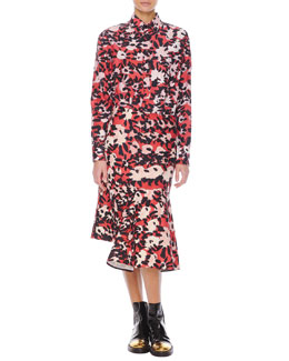 Marni Long-Sleeve Floral-Print Chest-Pocket Blouse & Abstract Floral-Print Skirt with Side Godet