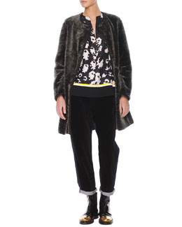 Marni Reversible Shearling/Leather Coat, Contrast-Trim Printed Silk Blouse & Velvet/Denim Cropped Relaxed Pants