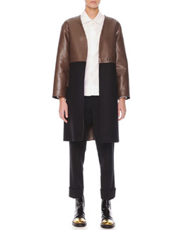 Leather/Felt Long Coat, Inverted-Pleat Poplin Blouse & Flat-Front Cropped Wool Pants