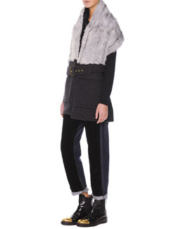Belted Goat-Fur-Collar Vest, Jewel-Trim Cashmere Sweater & Velvet/Denim Cropped Relaxed Pants