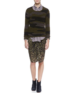 Isabel Marant Etoile Vetra Camo-Print Sweater, Will Striped Button-Down & Coleen Leopard-Print Skirt