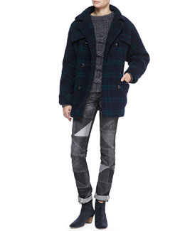 Isabel Marant Etoile Gael Double-Breasted Plaid Coat, Romer Two-Tone Chunky Sweater & Drapey Patchwork Skinny Jeans