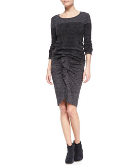 Isabel Marant Etoile Wallis Striped Pullover Sweater and Mills Melange Ruffle Skirt