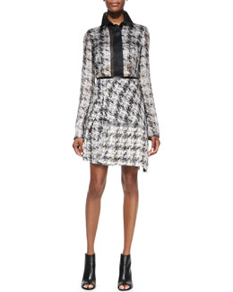 Reed Krakoff Tweed-Print Georgette Blouse and Asymmetric Skirt