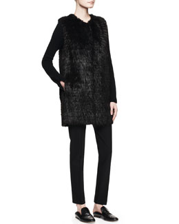 THE ROW Lasfer Long Fur Vest and Lunette V-Neck Cashmere Top