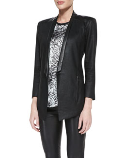 Helmut Lang Printed/Solid Cap-Sleeve Top & Glossy Leather-Lapel Twill Blazer