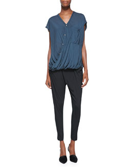 Helmut Lang Lush Voile Draped Top & Draped Jersey Tie-Waist Pants
