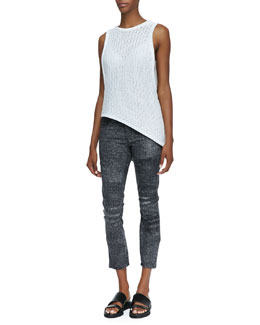 Helmut Lang Corded Sleeveless Asymmetric Sweater Tank, Split-Strap Sports Bra & Sediment Printed Cropped Denim Jeans