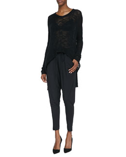 Helmut Lang See-Through Knit Pullover Sweater, Split-Strap Sports Bra & Draped Jersey Tie-Waist Pants