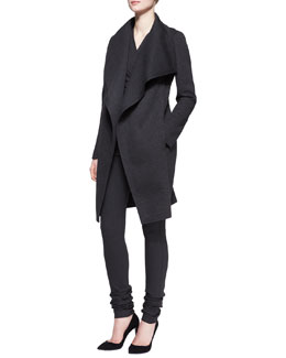 Donna Karan Sculpted Clutch Coat, Sleeveless Ruched Drape Top & Extended Straight-Leg Jersey Pants