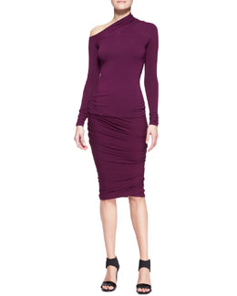 Donna Karan Long-Sleeve One-Shoulder Top and Crush Ruched Jersey Skirt