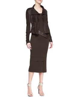 Donna Karan Long-Sleeve Zip-Front Jacket, Long-Sleeve Layered-Hem Dress & Wide Leather Hook Belt