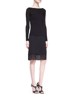 Donna Karan Cool Jersey V-Back Ballerina Top & Sculpted Bonded Jersey Skirt with Lace Hem