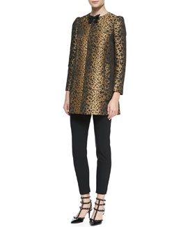 RED Valentino Bow-Neck Heart Leopard-Print Topper Coat & Cady Tech Ankle Zip Leggings