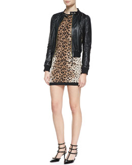 RED Valentino Perforated Stars Leather Bomber Jacket & Long-Sleeve Heart Leopard-Print Sweater Dress