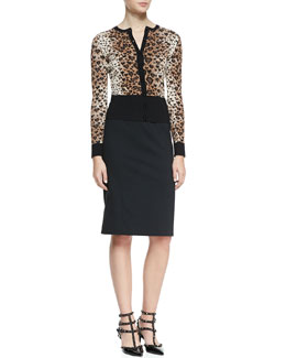 RED Valentino Long-Sleeve Heart Leopard-Patterned Cardigan & Cady Tech Pencil Skirt