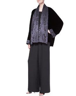 Scrunch Shawl-Collar Jacket, A-Line Shell & Flared Trousers