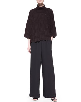 3/4-Sleeve High-Neck Sweater & Flared Trousers
