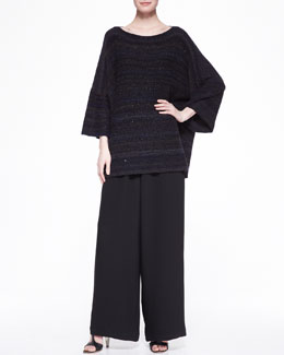 Square Short-Sleeve Top & Flared Trousers