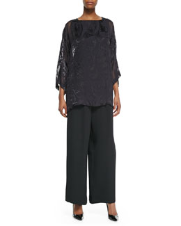 3/4-Sleeve Bateau Neck Tunic, A-Line Silk Shell & Flared Silk Trousers