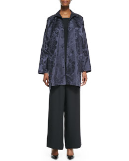 Wide A-Line Shirt Jacket, A-Line Silk Shell & Flared Silk Trousers
