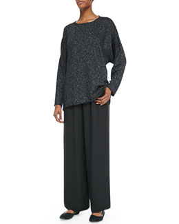 A-Line Bateau Neck Sweater & Flared Silk Trousers