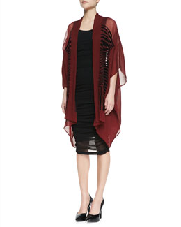 Jean Paul Gaultier Oversized Velvet-Striped Cardigan & Solid Tank Fitted Dress