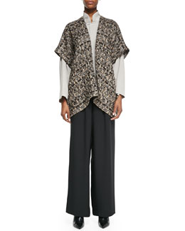 Open Jacket, Imperial Top with Mandarin Collar & Flared Silk Trousers