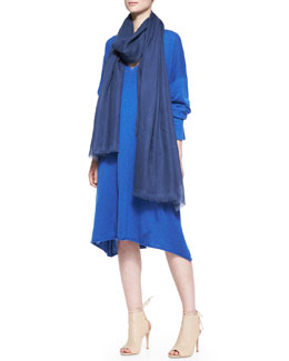 eskandar A-Line Raw-Edge V-Neck Dress & Fine Large Cashmere Scarf