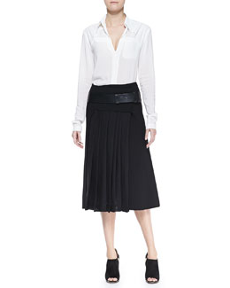 Donna Karan Long-Sleeve Blouse with Cotton Yoke, Midi Mid-Calf Pleated Wrap Skirt & Slice Leather Belt