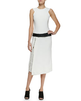 Donna Karan Sleeveless Zip Dress & Slice Leather Belt
