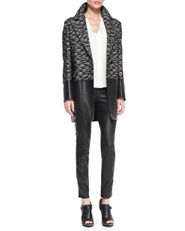 Belstaff Leather-Panel Tweed Coat, Split-Neck Shirttail Blouse & Zip-Pocket Pull-On Leather Pants
