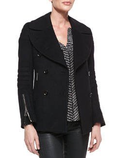 Belstaff Wool Cashmere Moto Peacoat and Printed Split-Neck Shirttail Blouse