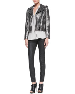 Belstaff Metallic Leather Moto Jacket, Washed Piped Pocket Blouse & Skinny Coated Moto Jeans