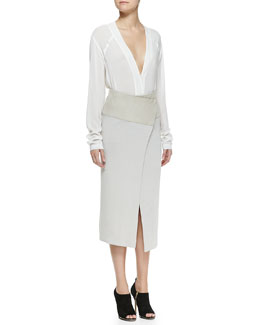 Donna Karan Long-Sleeve V-Neck Blouse & Mid-Calf Midi Wrap Skirt