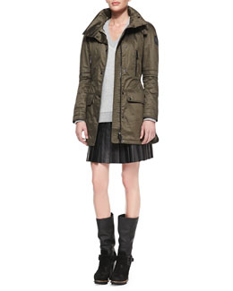 Belstaff Resin-Coated Twill Anorak, Reverse Tweed Sweater & Pleated Glove Leather Skirt