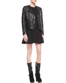 Belstaff Lightweight Quilted Leather Moto Jacket and Sleeveless Jersey Fit-and-Flare Dress