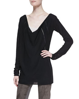 Donna Karan Long-Sleeve Draped Wool Top & Ribbed Cashmere-Blend Tank Top
