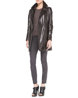 Belstaff Satin Leather Long Jacket, Contoured Ribbed Crew Sweater & Skinny Twill Moto Jeans