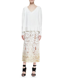 Donna Karan V-Neck Pullover Top & Embroidered Cutout Skirt