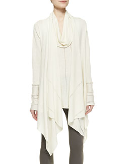Donna Karan Long-Sleeve Draped Waterfall Wool Cardigan & Sleeveless Cowl-Neck Top
