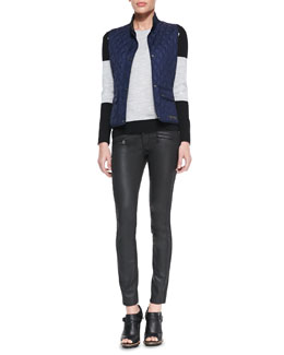 Belstaff Diamond-Quilted Snap Vest, Colorblock Racing Stripe Sweater & Skinny Coated Moto Jeans