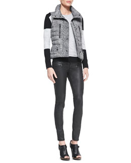 Belstaff Tweed-Print Snap Puffer Vest, Colorblock Racing Stripe Sweater & Skinny Coated Moto Jeans