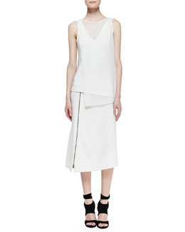Donna Karan Sleeveless V-Neck Top & Mid-Calf Hip-Slung Midi Skirt
