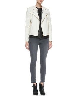 J Brand Ready to Wear Crista Ribbed-Shoulder Leather Jacket, Bianca Cap-Sleeve Leather Blouse & Bree Skinny Cropped Jeans